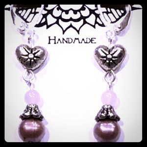 Casey Keith Design Jewelry - Rose Quartz Starburst Heart Earrings